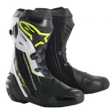 Alpinestars Supertech R Motorcycle Motorbike Track Boot Black Yellow Fluo White